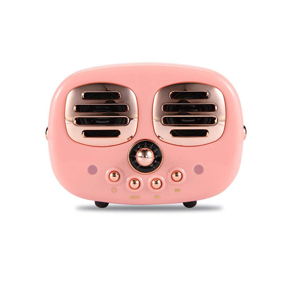 GLgl ワイヤレスBluetoothスピーカー デュアルスピーカー レトロポータブル音楽プレーヤー TFカード/USBフラッシュドライブ/AUXに対応 ピンク   B07MXYLWDF