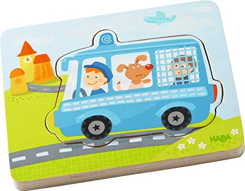 HABA Emergency Call 4 Piece Layered Wooden Puzzle for Ages 12 Months and Up ()