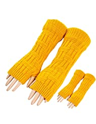 2pcs Women's Arm Warmers Fingerless Knitted Long Gloves Mittens with Thumb Hole (Yellow&Yellow)