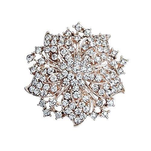 Ezing Fashion Jewelry Beautiful Gold Plated Rhinestone Crystal Brooch Pin For Woman (gold)