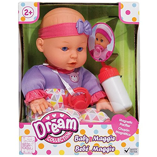 Family Games Dream Collection 12 Inch Baby Maggie Cute Soft Doll Play Set Fun, Pretend Play, Learning, with Baby Bottle for Children Age 2 Plus
