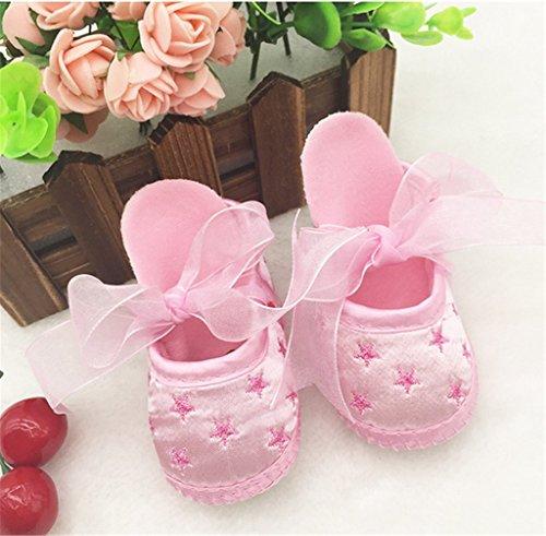 ElecMotive 3-12 Monate Taufschuhe Baby Schuhe Sandalen Taufe Mädchen Lauflernschuhe Taufschühchen (Weiße) Pink