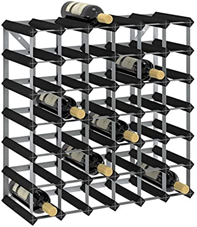 vidaXL Madera Maciza de Pino Botellero Armario Soporte Vino Vinoteca Estante Organizador Portabidones Colocación Decoración para 42 Botellas Negro
