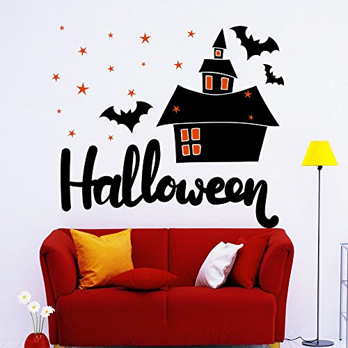 43SabrinaGill Wall Decals Halloween Holiday Decorations Home Decal Bat Vinyl Star Stickers Kids Room Decor Halloween Decal -