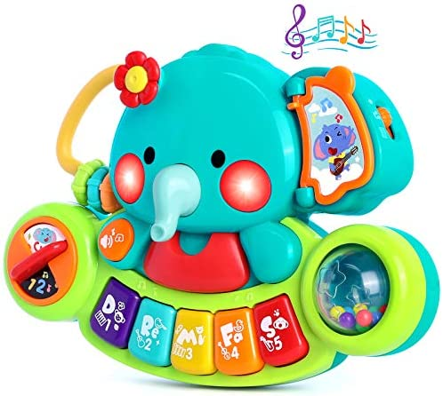 WITALENT Baby Piano Toy 6 to 12 Months Elephant Light Up Music Toys for Infant 6 9 12 18 24 Months Gift Toy for 1 Years Old Boy Girl Baby Learning Educational Piano Keyboard Toys for 1 2 Year Old