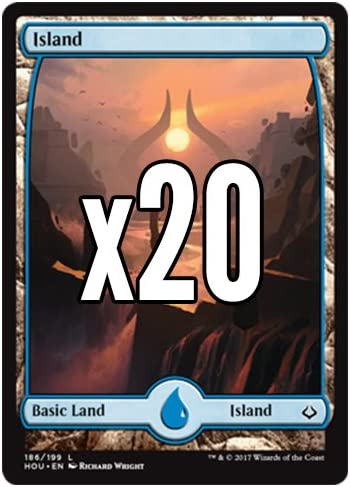 MTG Basic Land Lot Magic 20 Hour of Devastation FULL ART Island #186