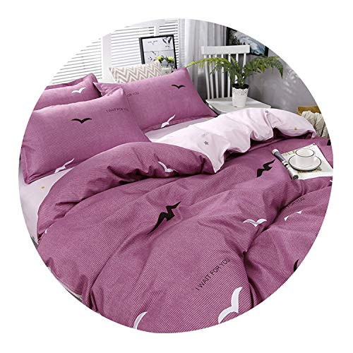 3/4pcs High Purple Seagull Printing Textile Bedding Set Include Duvet Cover&Sheets&Pillowcases Comfortable Home Bed Set…