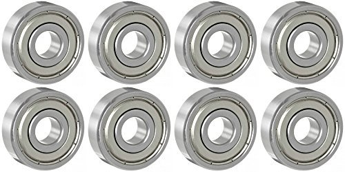 Eight (8) 625ZZ 5mm x 16mm x 5mm Shielded Deep Groove Precision Ball Bearings