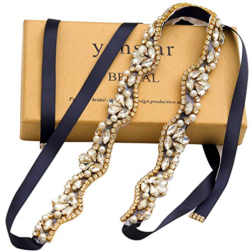 Yanstar Handmade Rhinestone belt Wedding Bridal Belt Sashes For Bridesmaid Dress (Gold-Navy Blue)