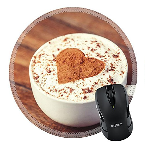 MSD Natural Rubber Mousepad Round Mouse Pad 24284572 Cup with coffee and shape of the cacao heart on it Photo with vintage style
