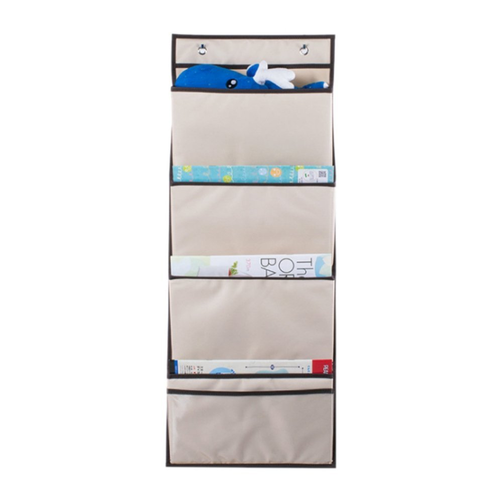 Handfly 4 Pocket Over The Door Hanging Organizer Oxford Cloth Large Capacity Space saver Home Storage Bag with 2 Strong Stainless Steel Hooks