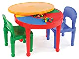 Toys : Tot Tutors Kids 2-in-1 Plastic LEGO-Compatible Activity Table and 2 Chairs Set, Primary Colors