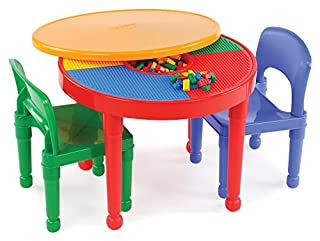 Tot Tutors Kids 2-in-1 Plastic Building Blocks-Compatible Activity Table and 2 Chairs Set, Round, Primary Colors (B003R50PKA) | Amazon Products