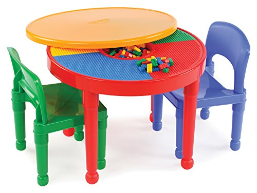 Tot Tutors Kids 2-in-1 Plastic LEGO-Compatible Activity Table and 2 Chairs Set, Primary Colors (2 1 1 Chair)