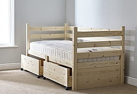 Day Bed In Natural Pine With Storage Drawers Single Bed