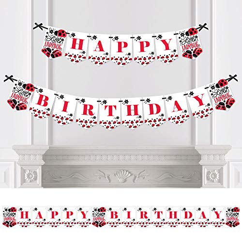 Big Dot of Happiness Happy Little Ladybug - Birthday Party Bunting Banner - Birthday Party Decorations - Happy Birthday