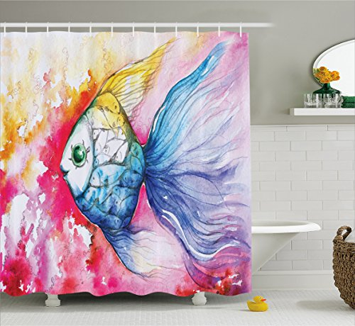 Ocean Animal Decor Shower Curtain by Ambesonne, Watercolor Fish Paint with Grunge Vivid Brushstroke Splashes Nautical Concept, Fabric Bathroom Decor Set with Hooks, 75 Inches Long, Multi (Of Rug School Fish)