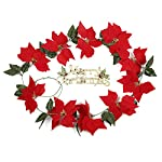 JUISEE-Artificial-Flowers-Christmas-Garlands-Poinsettia-Garland-66ft-Garland-Christmas-Rattan-Decoration-Party-Favors-Home-Dcor-with-Holly-Leaves