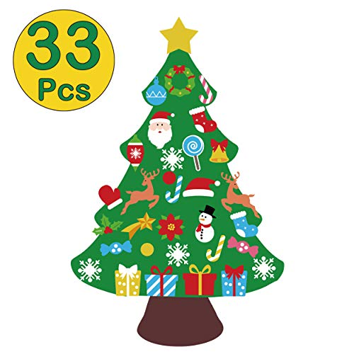 jollylife 3ft DIY Felt Christmas Tree Set - Xmas Decorations Wall Hanging Ornaments Kids Gifts Party Supplies