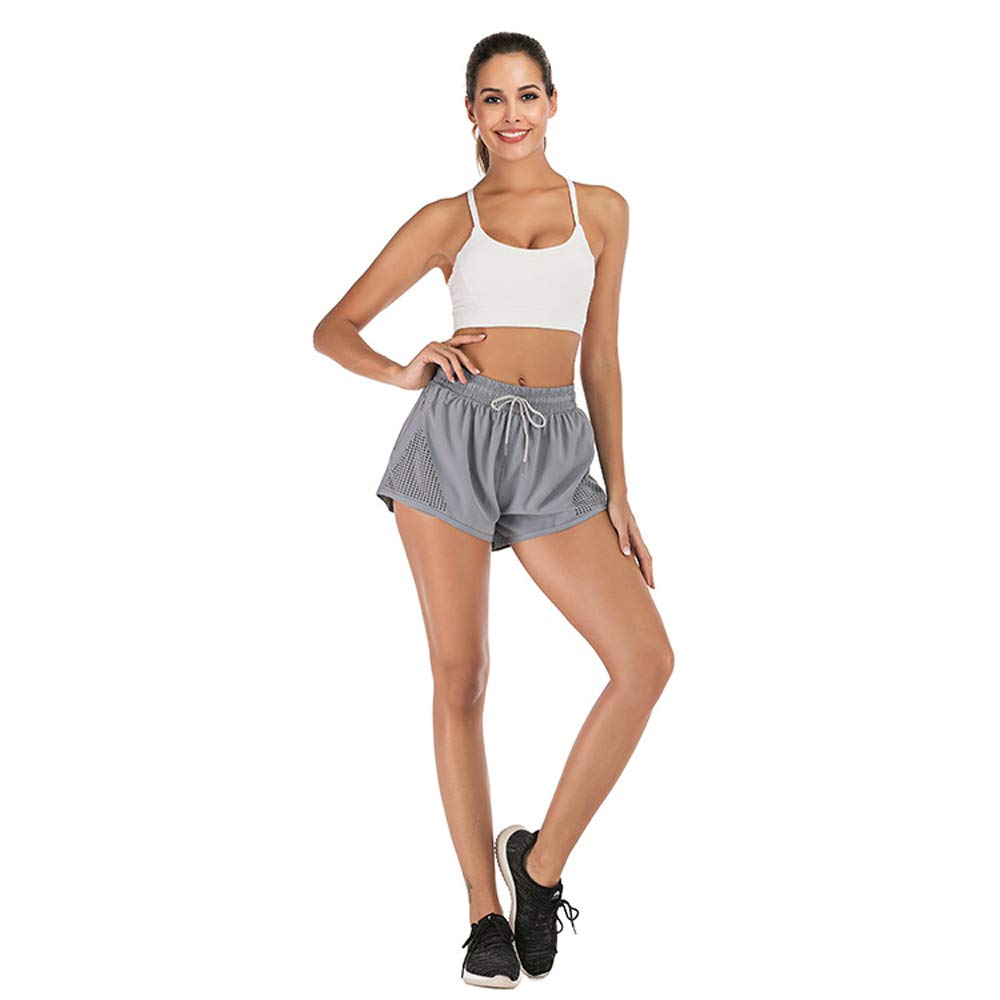 AIFEI Sports Running Fitness Tennis Shorts with Liner mesh and Drawstring 2 in Inseam for Women