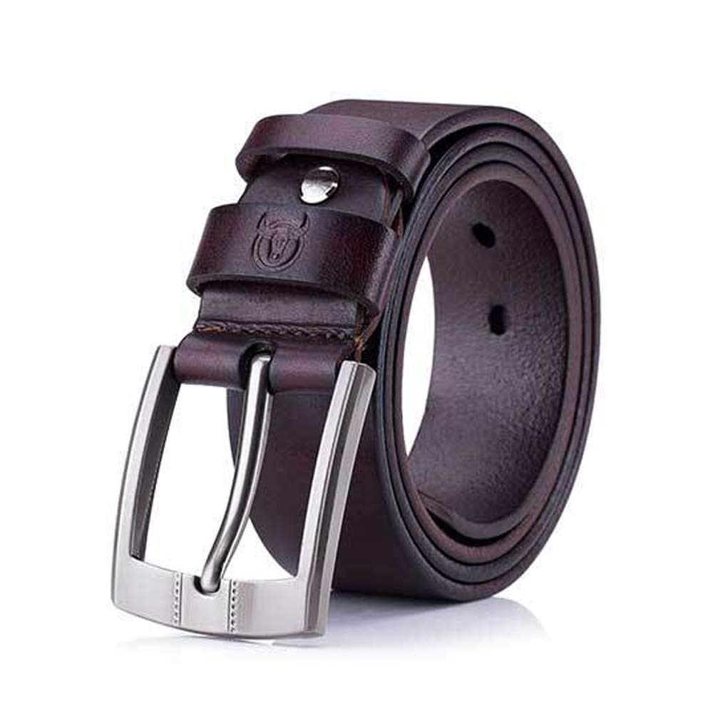 Mens Belt Crazy Horse Skin Cream Leather Leather Pin Buckle Thickening Youth Casual Belt Color : Brown, Size : 115cm, Style : A