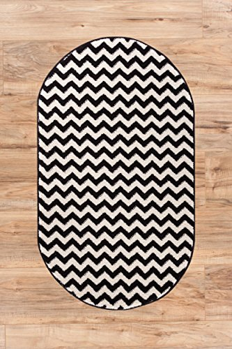 (Wandering Chevron Black Zig Zag Modern Casual Geometric 3x4 ( 2'7