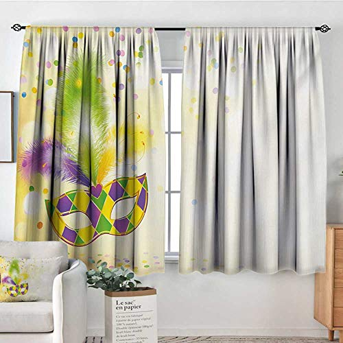- Mozenou Mardi Gras Blackout Window Curtain Festival Mask with Ornamental Feathers Colorful Dots Confetti Party Blackout Draperies for Bedroom 63