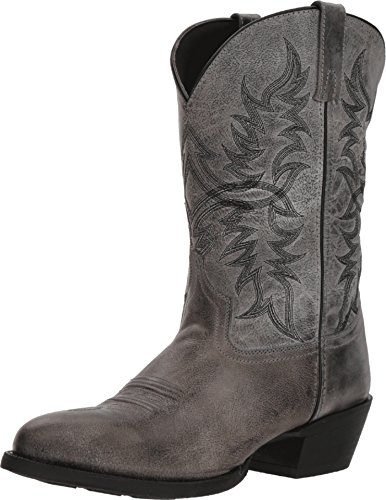 (Laredo Men's Harding Grey Waxy Leather Cowboy Boot Medium Toe Grey 11 EE)