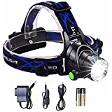 Lightess Headlamp LED Headlight Rechargeable Zoomable Head Lamp Waterproof Hand Free Torch Light