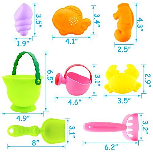 3 otters Kids Beach Sand Toy Set, 8PCS Sand Toys Beach Toys Sandbox Toys, Kids Outdoor Toys