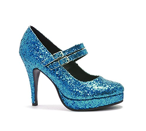Ellie Women's '421-Jane-G' Glittery Double Strap Mary Jane Heels Blue 5