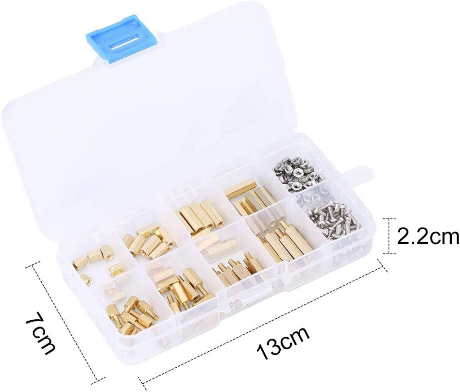 M3 Brass Standoff 120 Pcs Male Female Threaded Brass Standoffs Kit Waterproof Durable M3 Hex Brass Spacer Standoff for PCB Motherboard Spacer Assortment