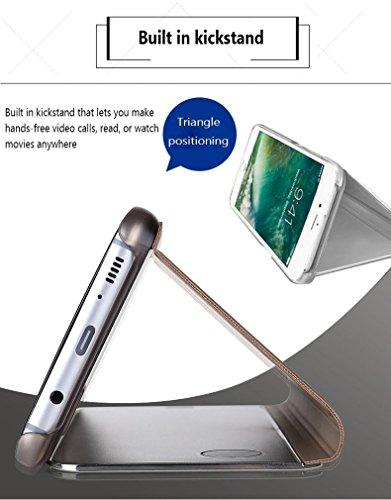 Caja del Teléfono Móvil Metal para iPhone Ten, iPhone X 5.8 Case Mirror Funda, SevenPanda Flip Stand Luxury Mirror Funda Transparente del Teléfono Móvil Caja del Teléfono Inteligente Sleep / Wake Fun Stand - Plata