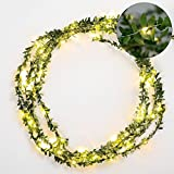 Omika Ivy Green Leaf Garland String Lights - Vine Fairy Lights - 16.4ft 50 LED Flexible Copper Battery Powered - Perfect for Indoor, Bedroom, Wedding, Party Decorations(Warm White)