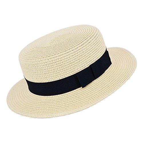 MATCH MUCH Straw Boater Hat (Cream Hat Regular Brim Bow Band) -