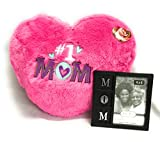 Plush Pink Mom Heart Pillow bundle with Mom Picture Frame for Valentines Day Gift (Bright Pink)