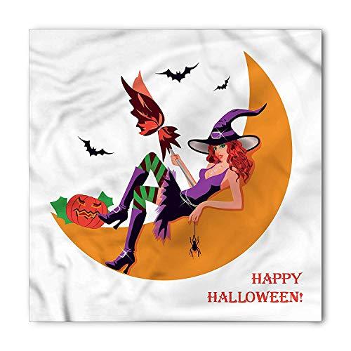 Witch Bandana, Halloween Flying Bats Moon, Unisex Head and Neck Tie,39.339.3inch]()