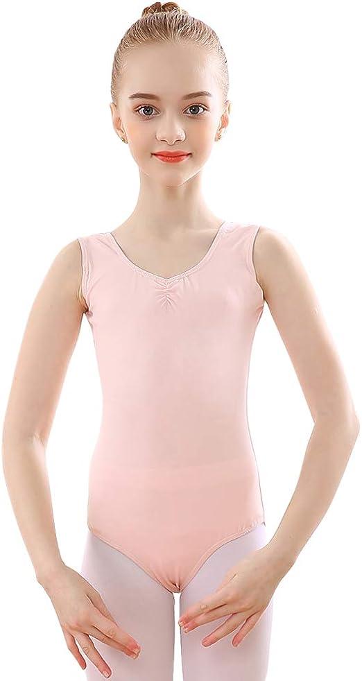 Bezioner Maillot de Danza Gimnasia Leotardos de Ballet de Algodón sin Mangas para Niñas y Mujer: Amazon.es: Deportes y aire libre