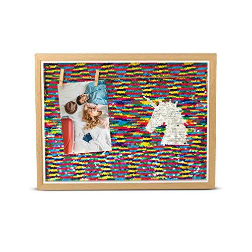 Unicorn Room Decor for Girls, Unicorn Wall Art Reversible Sequins Frame, Unicorn Rainbow Frame for Photos - 4
