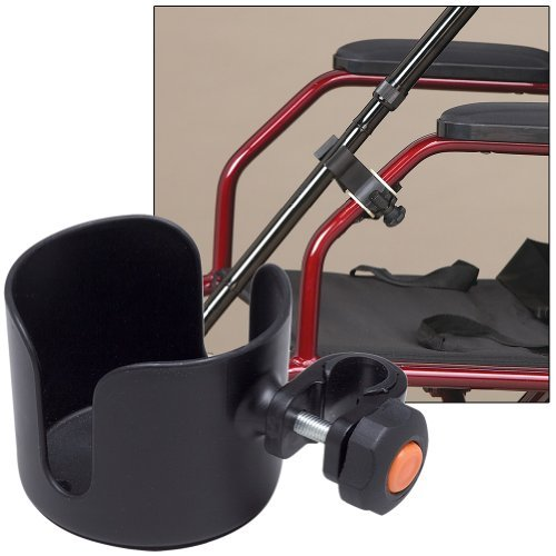 Cup & Cane Holders Clip On Accessory For Wheelchair Walker Rollator No Tools by Medline