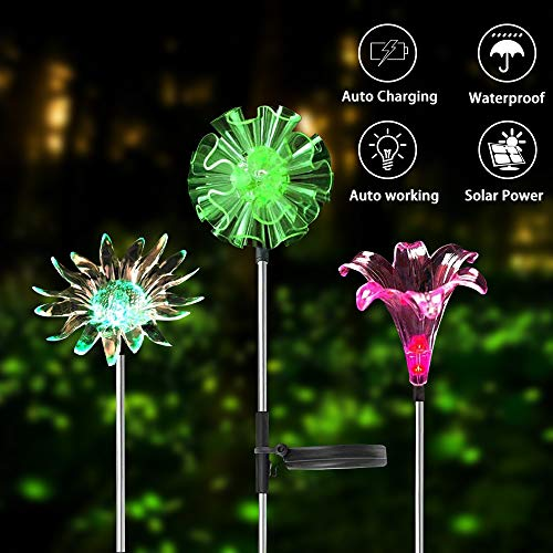 COOL LIFE Outdoor Solar Garden Stake Lights Decorative - Multi-Color Changing LED Solar Stake Lights for Garden, Patio, Backyard Decorative