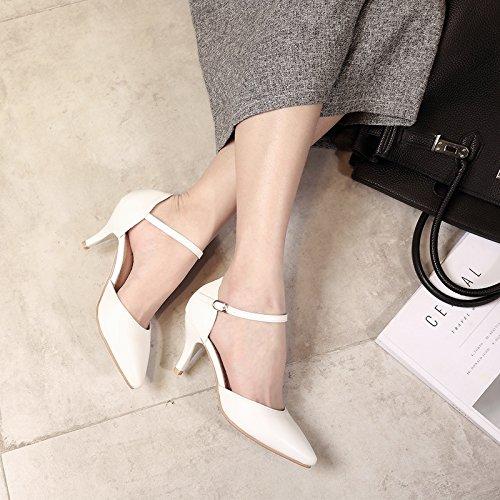 Consuelo Blanco De Mujer Negra Alto A Las Talón GAOLIM Mujeres Solo Superficial Sugerencia Verano De Fina Zapatos Zapatos Boca Pro El Trabajar A Zapatos 5qnXxSAwg