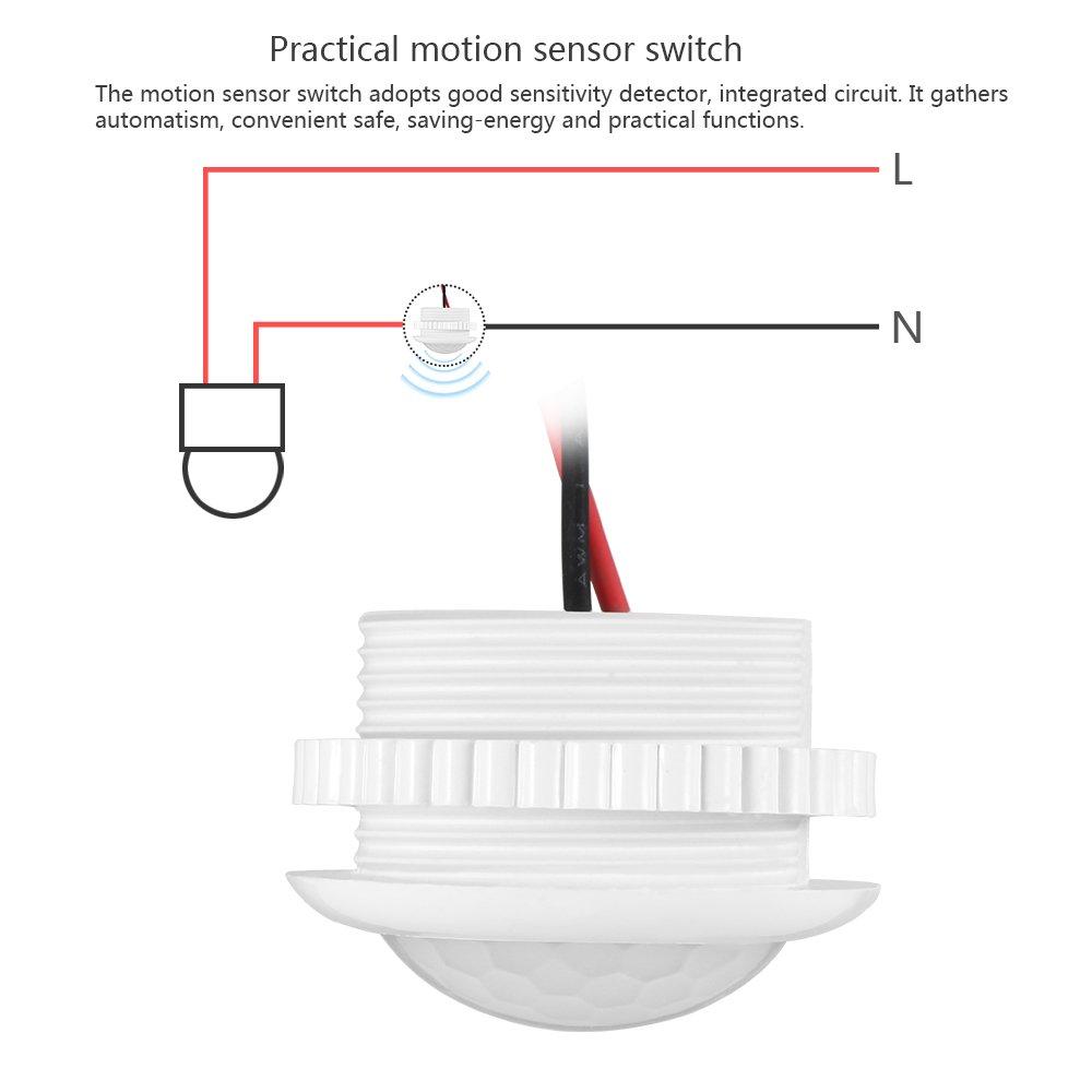 Conmutador de sensor PIR, ABEDOE Detector de sensor de movimiento de 180 grados Conmutador de luz para lámpara incandescente con luz LED, 220V (Pack of 1X): ...