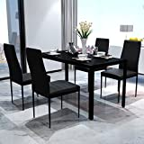 SKB Family Black Dining Table Set with 4 Chairs Contemporary Design