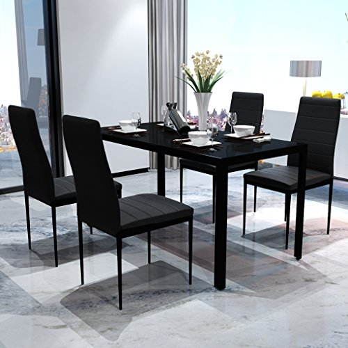 SKB Family Black Dining Table Set with 4 Chairs Contemporary Design by SKB family