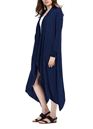 Brinny Dame Sommer Langarm Strand Kleid Cardigan Bluse Long Tops Strickjacke,  Navy XXL