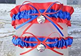Royal Blue Red Chicago Baseball Themed Wedding Sexy Garter Set