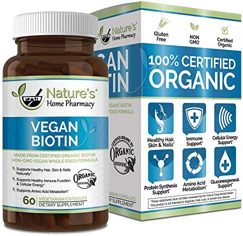 Nature's Home Pharmacy Organic Vegan Biotin - Supports Healthy Hair, Skin & Nails - Shine Naturally with This Family Safe Certified Organic Health & Beauty Aid - 5000mcg - 60 Capsules