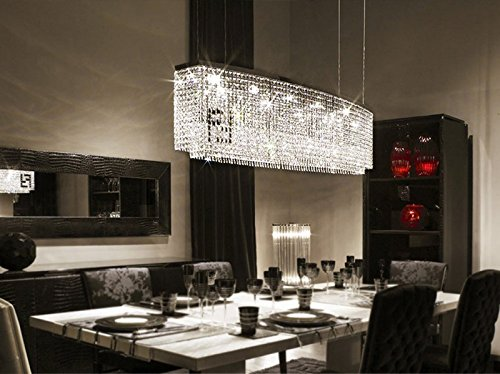 linear crystal chandelier. APBEAM Clear K9 Modern Double F Linear Crystal Chandelier Dining Room Light Fixtures Island Lighting 32\u0026quot H