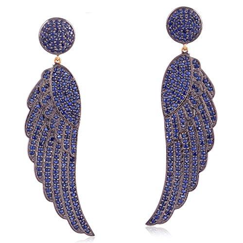 Blue Sapphire Angel Wing Dangle Earrings in 14K Yellow Gold & Sterling Silver by Mettlle